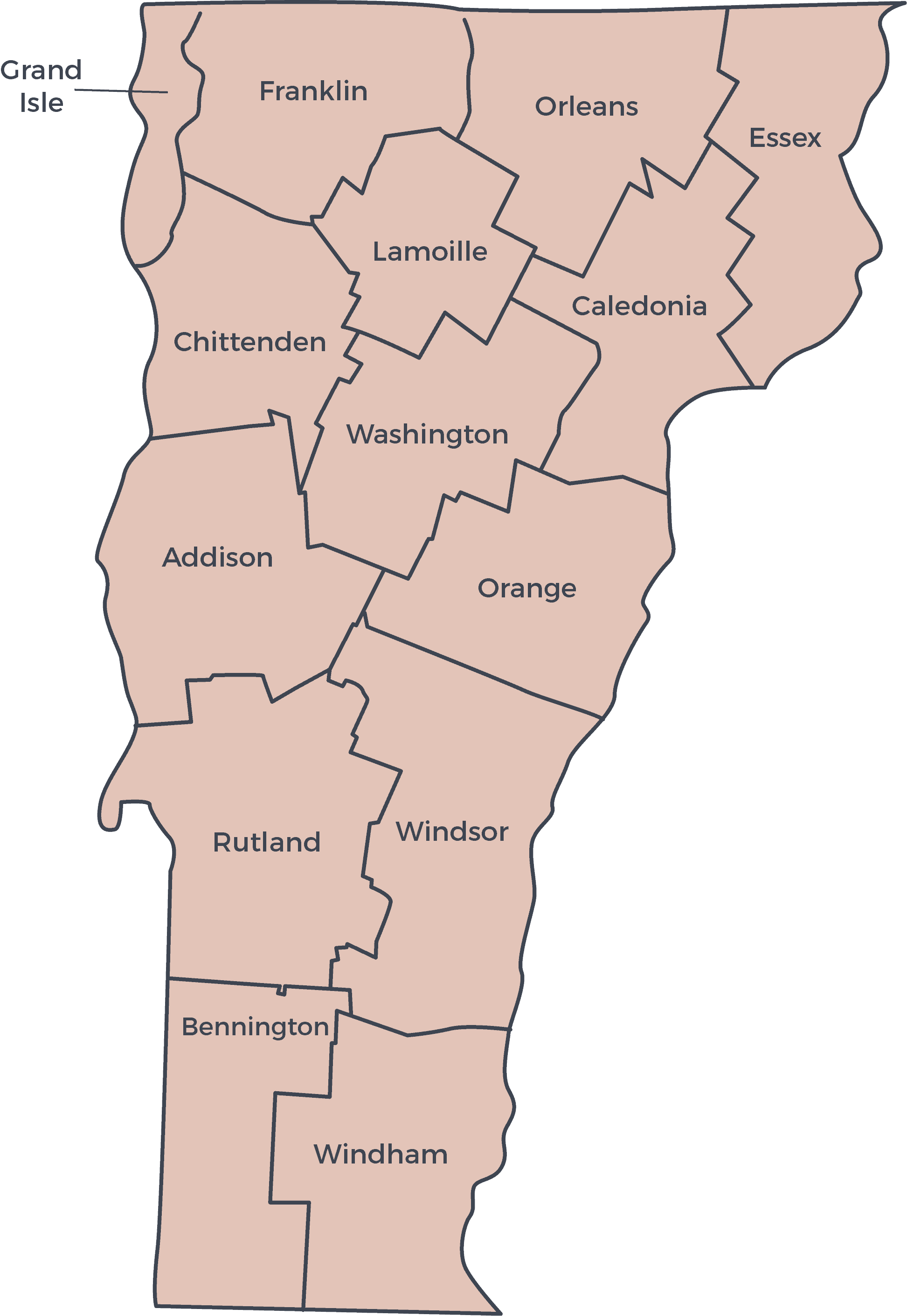 Vermont Counties Map - Thin Lines